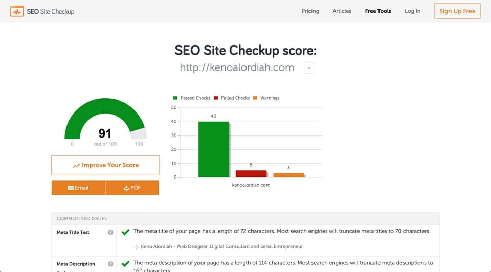 SEO Auditing Tool - SeoSiteCheckup