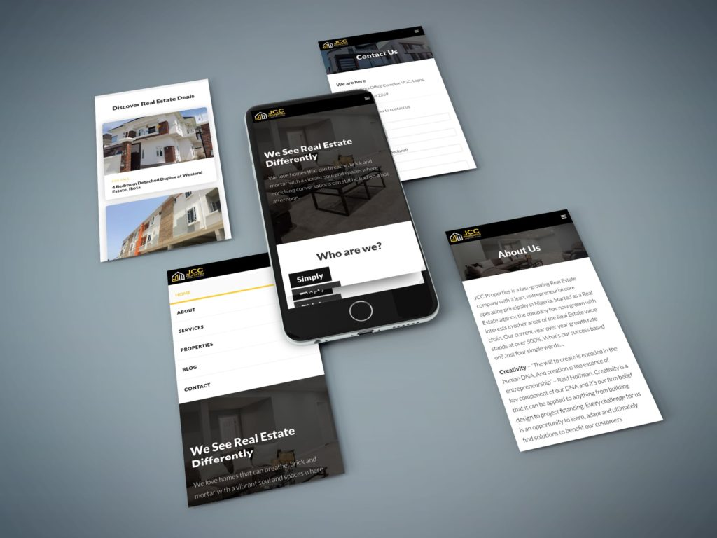 JCC Properties Website Mobile Design