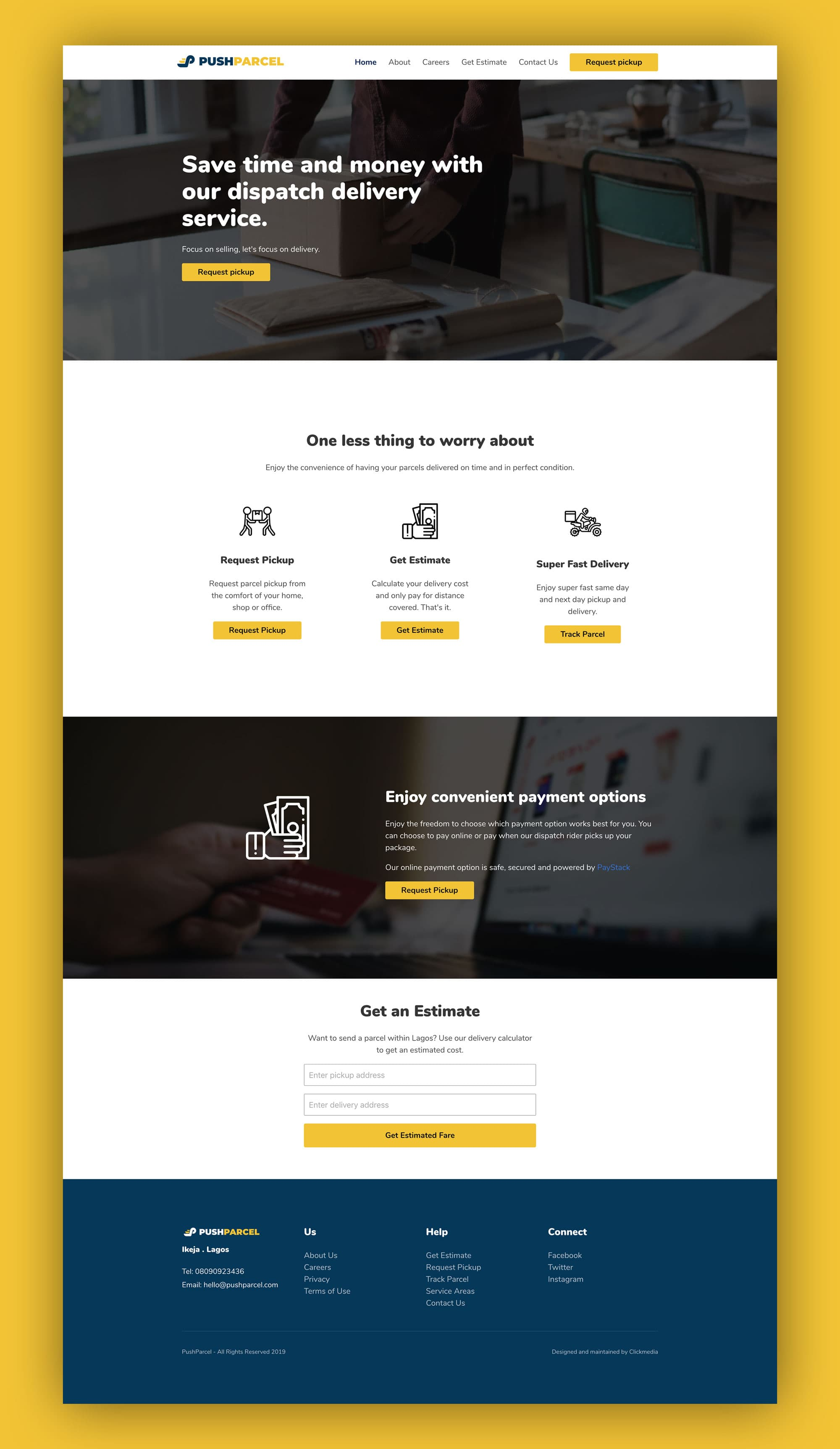 PushParcel Website Design