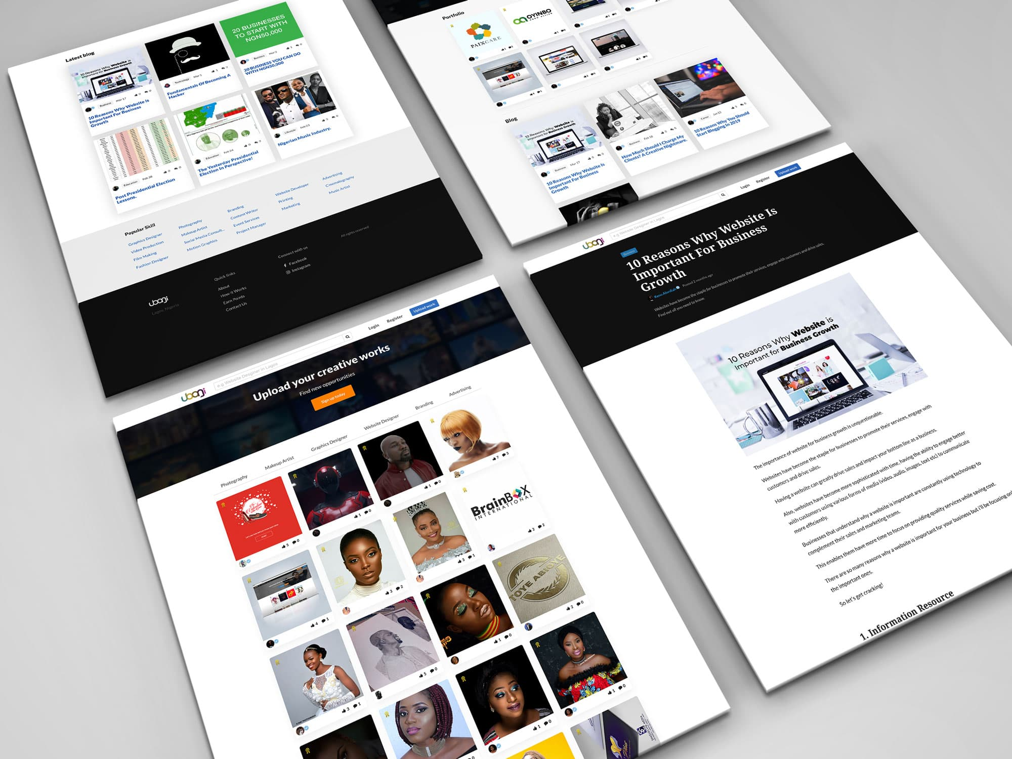 Ubanji.com website design mockup
