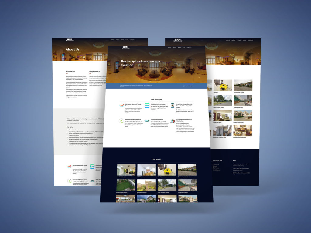 Gidivirtual Tour Website Mockup