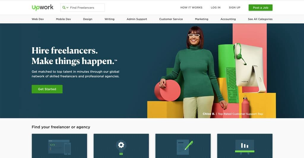 Upwork.com Landing Page encouraging you to hire freelancers