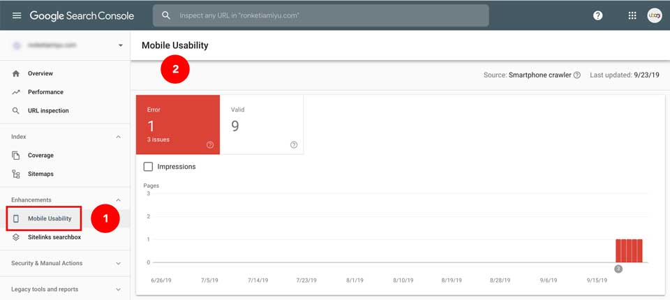 Mobile usability issue as shown on Google search console