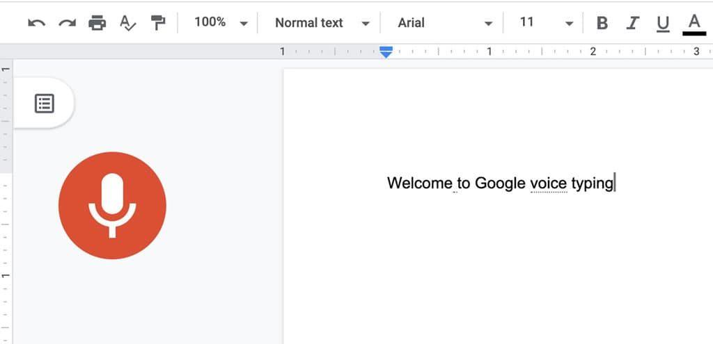Google voice typing in progress